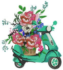 Delivery of flowers machine embroidery design