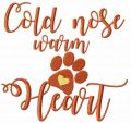 Cold nose warm heart free embroidery design
