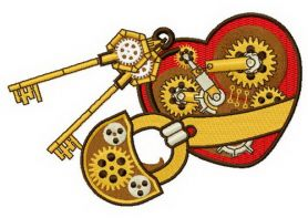 Mechanical heart 5 machine embroidery design