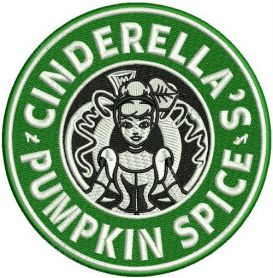Cinderella's pumpkin spice machine embroidery design