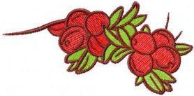 Red berries free machine embroidery design 2