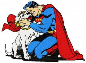 Superman with Krypto machine embroidery design