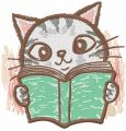 Cat reading blue book embroidery design