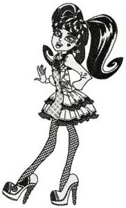 Draculaura black and white