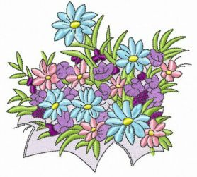 Spring flowers machine embroidery design