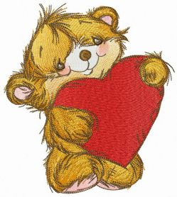 Fluffy bear with heart pillow machine embroidery design