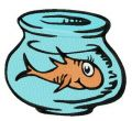 Orange fish in aquarium embroidery design