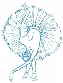 Graceful ballet dance one color machine embroidery design