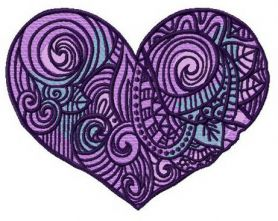 Purple heart machine embroidery design