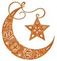 Moon and star embroidery design