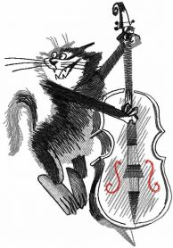 Cat with contrabass free embroidery design
