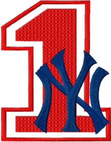 NY Yankees number one machine embroidery design