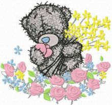 Teddy bear and the sea of flowers