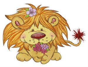 Lion with bouquet of spring flowers